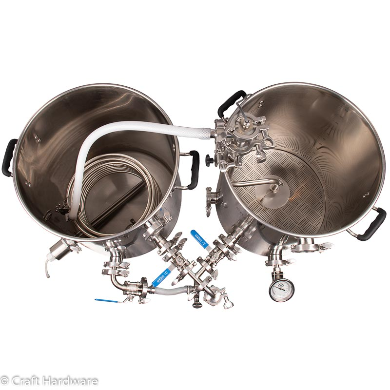 HERMS Duo Two Kettle Tri-Clamp Brewing System Top View